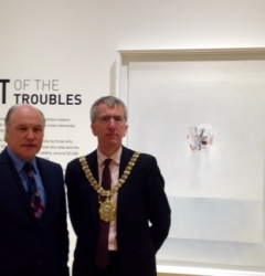 Tim Cooke with the Lord Mayor of Belfast at the Art of the Troubles exhibition, Ulster Museum