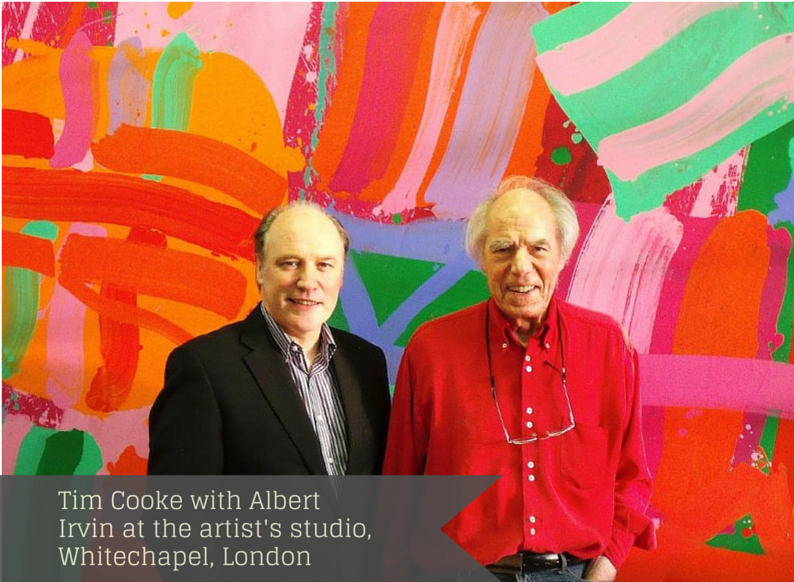 Tim Cooke with Albert Irvin at the artist's studio, Whitechapel, London