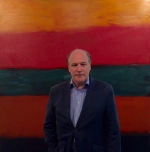 Tim Cooke with Sean Scully's Landline Red Red (2014). courtesy Kerlin Gallery, Dublin