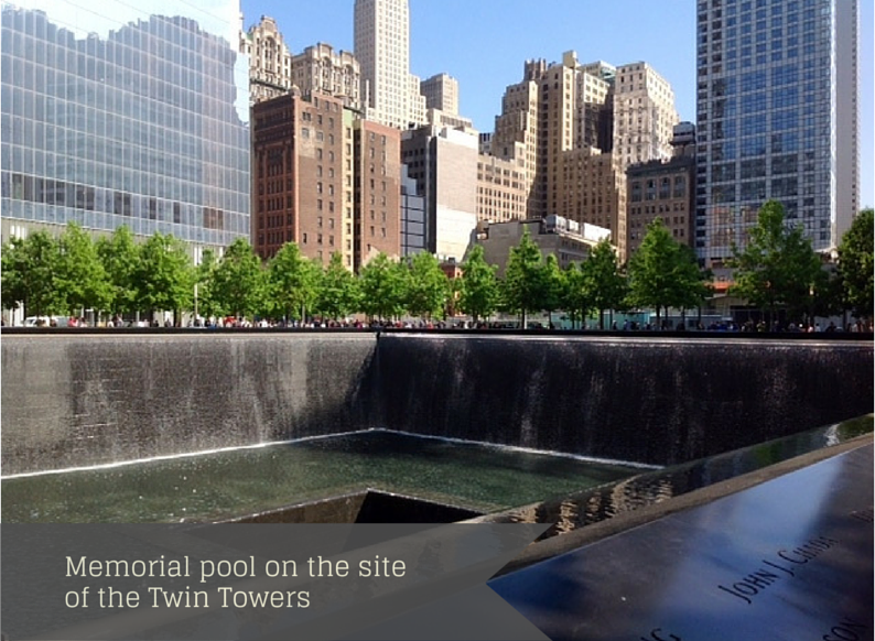 Memorial pool on the site of the Twin Towers