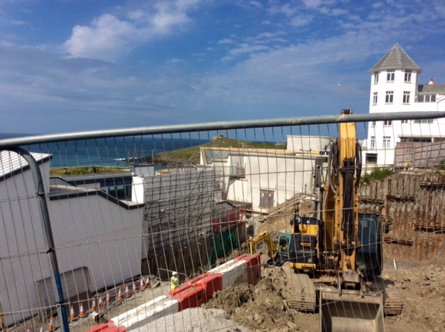 Laying foundations, new Tate St Ives extensionLaying foundations, new Tate St Ives extension
