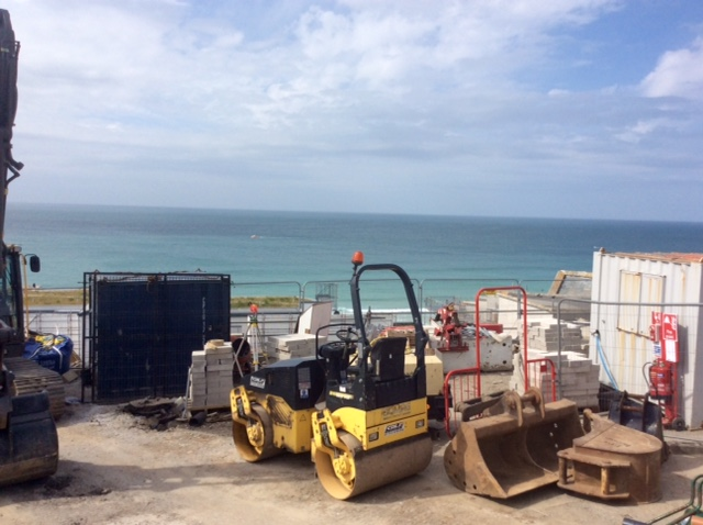 Construction work above Portmeor Strand, Tate St Ives