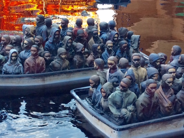Remote control refugee boats at Dismaland