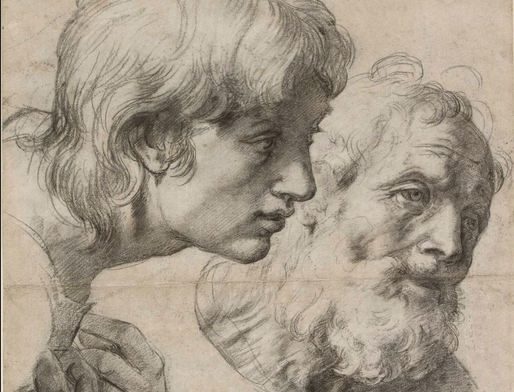 Detail from Study for the heads and hands of two Apostles, courtesy Albertina, Vienna
