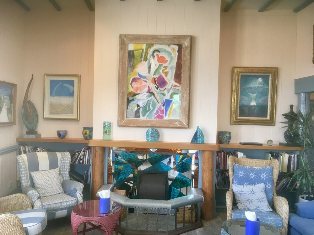 An Ivon Hitchens oil above the fireplace at Hell Bay Hotel