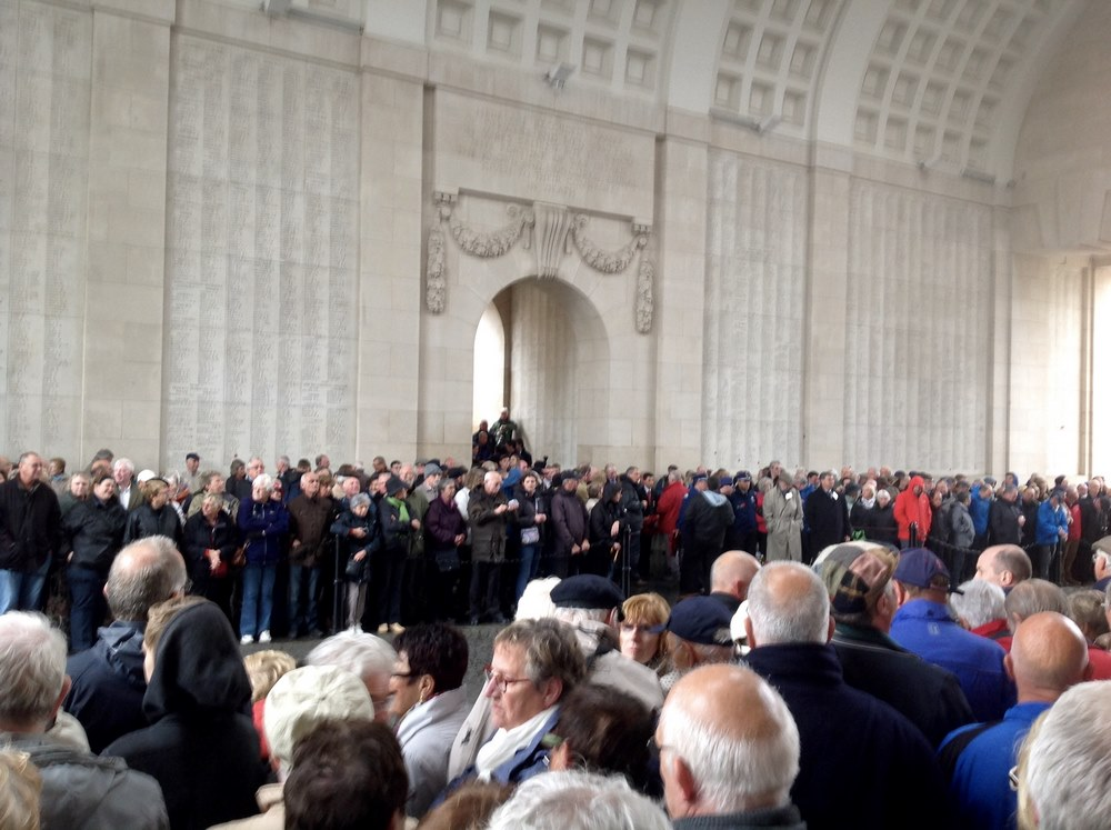 Crowds gather for the nightly ceremony at Menin Gate
