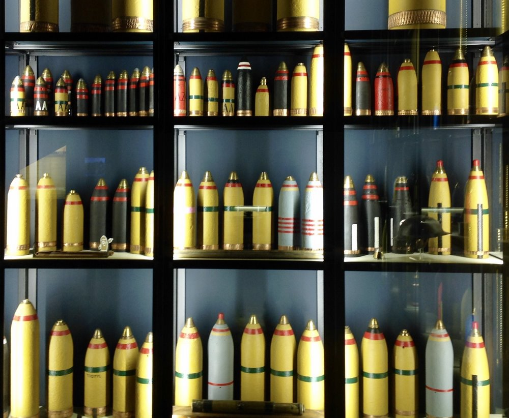 An unusual display of artillery shells