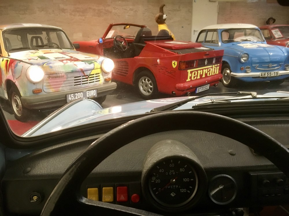 Behind the wheel in the Trabi Museum
